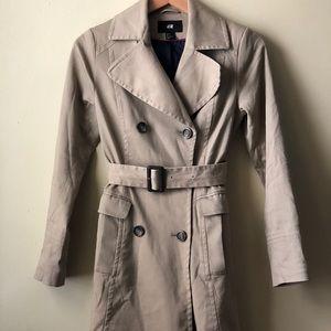 H&M Khaki Trench Coat Jacket with belt Tan